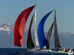 red white and blue sailing