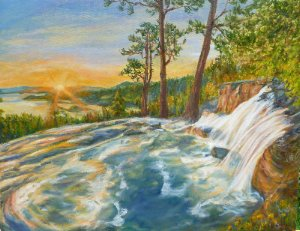 EXHIBITS_UnniStevens_EagleFalls, WatertotheWorld!_Oil