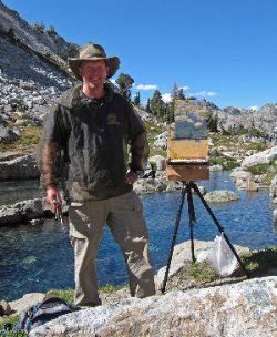 Charles Muench Painting Iceberg Lake