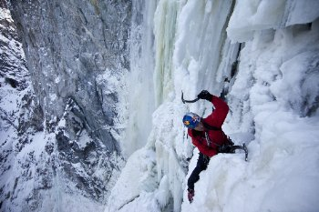 Location: Hunlen Falls - BC, Canada Athlete: Will Gadd Description: Will Gadd and EJ Plimley climb first ascent of Hunlen Falls in BC, Canada. Hunlen Falls is potentially one of the world's tallest vertical frozen waterfalls.