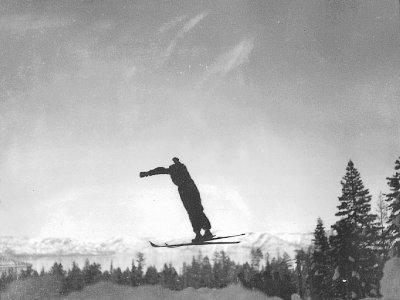 1936 Wayne Poulsen jumping on Olympic Hill at Granlibakken C.W. Vernon
