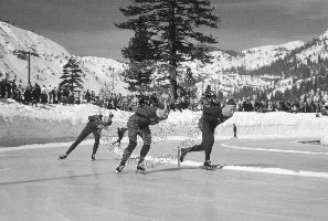 1960 Olympic Speed skaters warmup at Squaw Valley by Bill Briner
