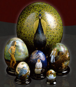 paintings on ceramic eggs