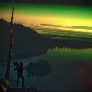 painting of emerald bay at dusk