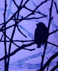 painting of bird on branch