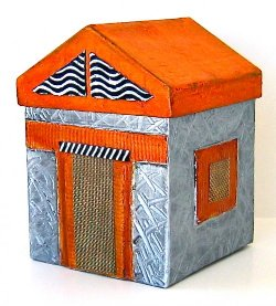 mixed media house sculpture