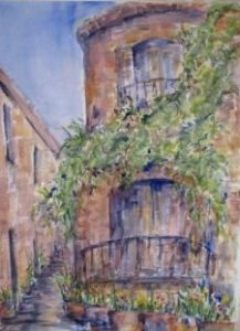 painting of french balcony