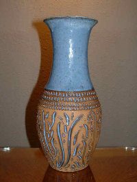 blue swirl vase