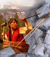 native american with tools