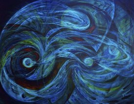 abstract painting of blue swirls